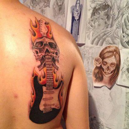 calaveras mexicanas tattoo tatuajes 10 • 2020 » 33 Tatuajes de Calaveras Mexicanas (+Significados) 25