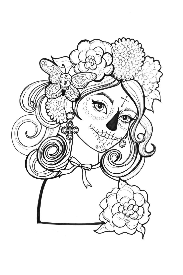 Catrinas para colorear 19 catrinas10 for Day of the dead color pages