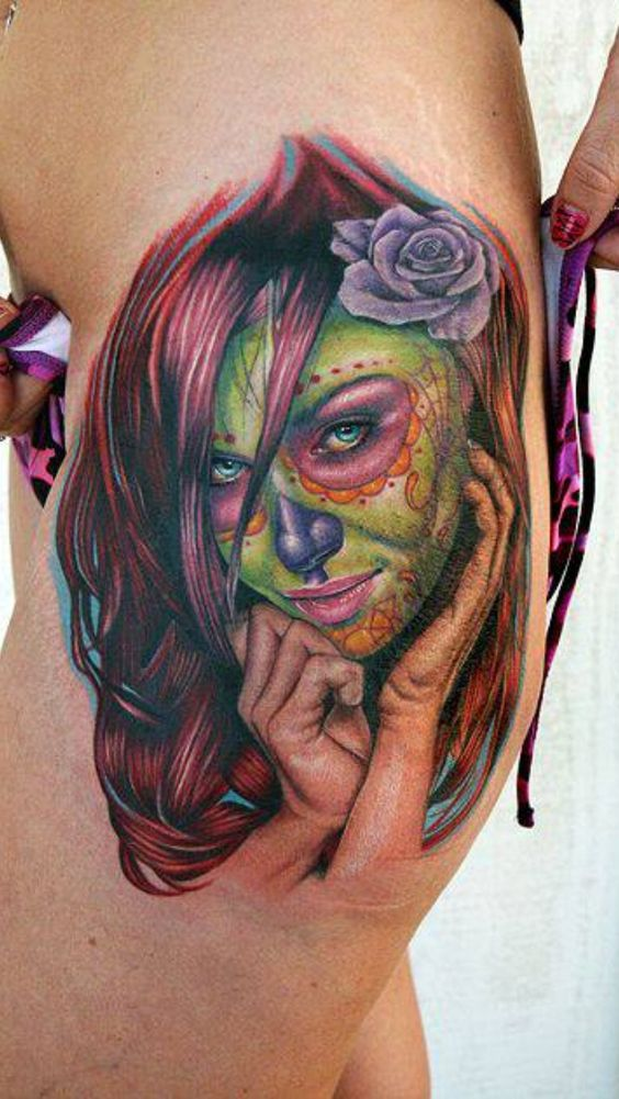imagenes catrinas tattoo tatuajes 1 » 97 Geniales Tatuajes de Catrinas (+Significados) 36