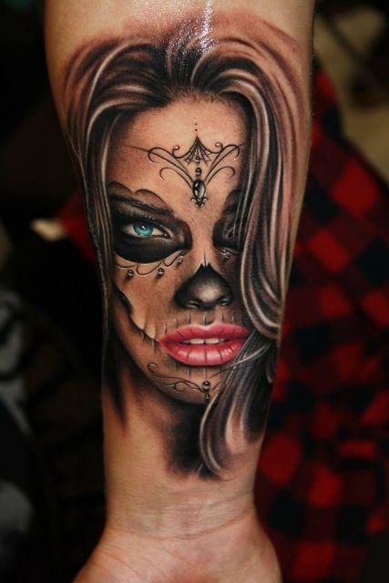 imagenes catrinas tattoo tatuajes 55 » 97 Geniales Tatuajes de Catrinas (+Significados) 90