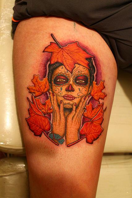 tatuajescatrina 10 » 97 Geniales Tatuajes de Catrinas (+Significados) 33