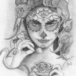 catrinas diseños bocetos tatuajes 1 » 50 Diseños de Catrinas y Bocetos de Tatuajes de Calaveras Mexicanas 13