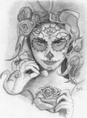 catrinas diseños bocetos tatuajes 1 • 2020 » 50 Diseños de Catrinas y Bocetos de Tatuajes de Calaveras Mexicanas 12