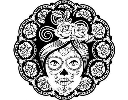 catrinas diseños bocetos tatuajes 10 • 2020 » 50 Diseños de Catrinas y Bocetos de Tatuajes de Calaveras Mexicanas 18
