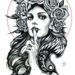 catrinas diseños bocetos tatuajes 11 » 50 Diseños de Catrinas y Bocetos de Tatuajes de Calaveras Mexicanas 20