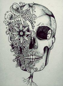 catrinas diseños bocetos tatuajes 12 • 2020 » 50 Diseños de Catrinas y Bocetos de Tatuajes de Calaveras Mexicanas 3