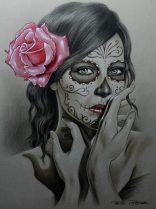 catrinas diseños bocetos tatuajes 13 • 2020 » 50 Diseños de Catrinas y Bocetos de Tatuajes de Calaveras Mexicanas 20