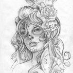 catrinas diseños bocetos tatuajes 14 » 50 Diseños de Catrinas y Bocetos de Tatuajes de Calaveras Mexicanas 22