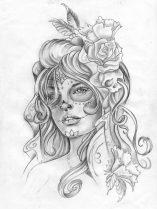 catrinas diseños bocetos tatuajes 14 • 2020 » 50 Diseños de Catrinas y Bocetos de Tatuajes de Calaveras Mexicanas 21