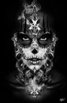catrinas diseños bocetos tatuajes 15 • 2020 » 50 Diseños de Catrinas y Bocetos de Tatuajes de Calaveras Mexicanas 22