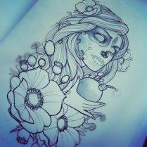 catrinas diseños bocetos tatuajes 17 • 2020 » 50 Diseños de Catrinas y Bocetos de Tatuajes de Calaveras Mexicanas 23