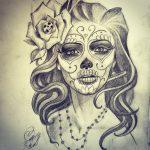 catrinas diseños bocetos tatuajes 19 » 50 Diseños de Catrinas y Bocetos de Tatuajes de Calaveras Mexicanas 25
