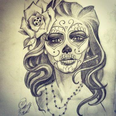 catrinas diseños bocetos tatuajes 19 • 2020 » 50 Diseños de Catrinas y Bocetos de Tatuajes de Calaveras Mexicanas 24