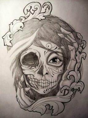 catrinas diseños bocetos tatuajes 20 • 2020 » 50 Diseños de Catrinas y Bocetos de Tatuajes de Calaveras Mexicanas 25