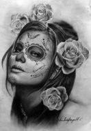 catrinas diseños bocetos tatuajes 21 • 2020 » 50 Diseños de Catrinas y Bocetos de Tatuajes de Calaveras Mexicanas 26