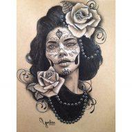 catrinas diseños bocetos tatuajes 22 • 2020 » 50 Diseños de Catrinas y Bocetos de Tatuajes de Calaveras Mexicanas 27