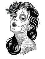 catrinas diseños bocetos tatuajes 23 • 2020 » 50 Diseños de Catrinas y Bocetos de Tatuajes de Calaveras Mexicanas 28