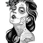 catrinas diseños bocetos tatuajes 23 » 50 Diseños de Catrinas y Bocetos de Tatuajes de Calaveras Mexicanas 29