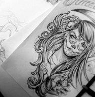 catrinas diseños bocetos tatuajes 24 • 2020 » 50 Diseños de Catrinas y Bocetos de Tatuajes de Calaveras Mexicanas 29