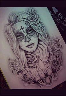 catrinas diseños bocetos tatuajes 25 • 2020 » 50 Diseños de Catrinas y Bocetos de Tatuajes de Calaveras Mexicanas 30