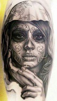 catrinas diseños bocetos tatuajes 26 • 2020 » 50 Diseños de Catrinas y Bocetos de Tatuajes de Calaveras Mexicanas 31