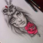 catrinas diseños bocetos tatuajes 27 » 50 Diseños de Catrinas y Bocetos de Tatuajes de Calaveras Mexicanas 33