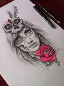 catrinas diseños bocetos tatuajes 27 • 2020 » 50 Diseños de Catrinas y Bocetos de Tatuajes de Calaveras Mexicanas 32