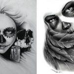 catrinas diseños bocetos tatuajes 28 » 50 Diseños de Catrinas y Bocetos de Tatuajes de Calaveras Mexicanas 34
