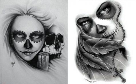 catrinas diseños bocetos tatuajes 28 • 2020 » 50 Diseños de Catrinas y Bocetos de Tatuajes de Calaveras Mexicanas 33