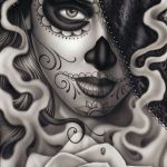catrinas diseños bocetos tatuajes 3 » 50 Diseños de Catrinas y Bocetos de Tatuajes de Calaveras Mexicanas 12