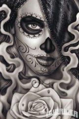 catrinas diseños bocetos tatuajes 3 • 2020 » 50 Diseños de Catrinas y Bocetos de Tatuajes de Calaveras Mexicanas 11