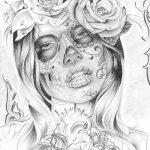 catrinas diseños bocetos tatuajes 30 » 50 Diseños de Catrinas y Bocetos de Tatuajes de Calaveras Mexicanas 36