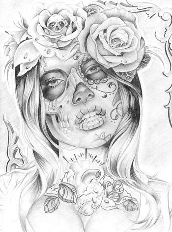 catrinas diseños bocetos tatuajes 30 • 2020 » 50 Diseños de Catrinas y Bocetos de Tatuajes de Calaveras Mexicanas 35