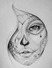 catrinas diseños bocetos tatuajes 31 e1470343687465 • 2020 » 50 Diseños de Catrinas y Bocetos de Tatuajes de Calaveras Mexicanas 36