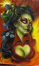 catrinas diseños bocetos tatuajes 32 • 2020 » 50 Diseños de Catrinas y Bocetos de Tatuajes de Calaveras Mexicanas 37