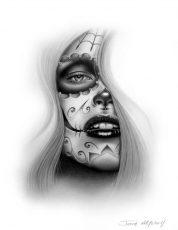 catrinas diseños bocetos tatuajes 33 • 2020 » 50 Diseños de Catrinas y Bocetos de Tatuajes de Calaveras Mexicanas 38
