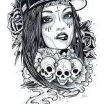 catrinas diseños bocetos tatuajes 35 » 50 Diseños de Catrinas y Bocetos de Tatuajes de Calaveras Mexicanas 41