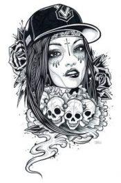 catrinas diseños bocetos tatuajes 35 • 2020 » 50 Diseños de Catrinas y Bocetos de Tatuajes de Calaveras Mexicanas 40