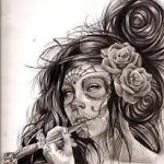 catrinas diseños bocetos tatuajes 37 » 50 Diseños de Catrinas y Bocetos de Tatuajes de Calaveras Mexicanas 42