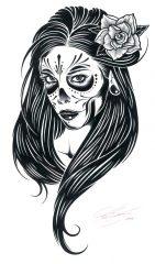 catrinas diseños bocetos tatuajes 4 • 2020 » 50 Diseños de Catrinas y Bocetos de Tatuajes de Calaveras Mexicanas 13
