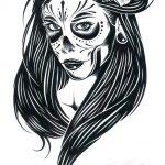 catrinas diseños bocetos tatuajes 4 » 50 Diseños de Catrinas y Bocetos de Tatuajes de Calaveras Mexicanas 14