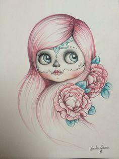 catrinas diseños bocetos tatuajes 40 • 2020 » 50 Diseños de Catrinas y Bocetos de Tatuajes de Calaveras Mexicanas 44