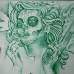 catrinas diseños bocetos tatuajes 41 » 50 Diseños de Catrinas y Bocetos de Tatuajes de Calaveras Mexicanas 46