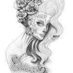 catrinas diseños bocetos tatuajes 43 » 50 Diseños de Catrinas y Bocetos de Tatuajes de Calaveras Mexicanas 48