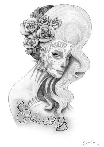 catrinas diseños bocetos tatuajes 43 • 2020 » 50 Diseños de Catrinas y Bocetos de Tatuajes de Calaveras Mexicanas 47