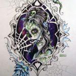 catrinas diseños bocetos tatuajes 48 » 50 Diseños de Catrinas y Bocetos de Tatuajes de Calaveras Mexicanas 49