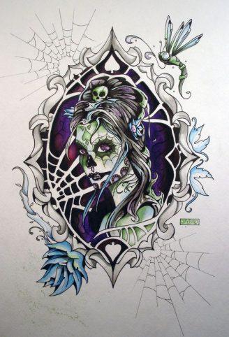 catrinas diseños bocetos tatuajes 48 • 2020 » 50 Diseños de Catrinas y Bocetos de Tatuajes de Calaveras Mexicanas 48