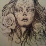 catrinas diseños bocetos tatuajes 5 » 50 Diseños de Catrinas y Bocetos de Tatuajes de Calaveras Mexicanas 15