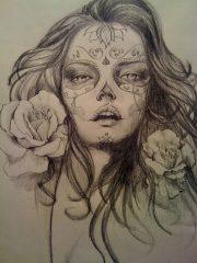 catrinas diseños bocetos tatuajes 5 • 2020 » 50 Diseños de Catrinas y Bocetos de Tatuajes de Calaveras Mexicanas 14