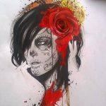 catrinas diseños bocetos tatuajes 6 » 50 Diseños de Catrinas y Bocetos de Tatuajes de Calaveras Mexicanas 16